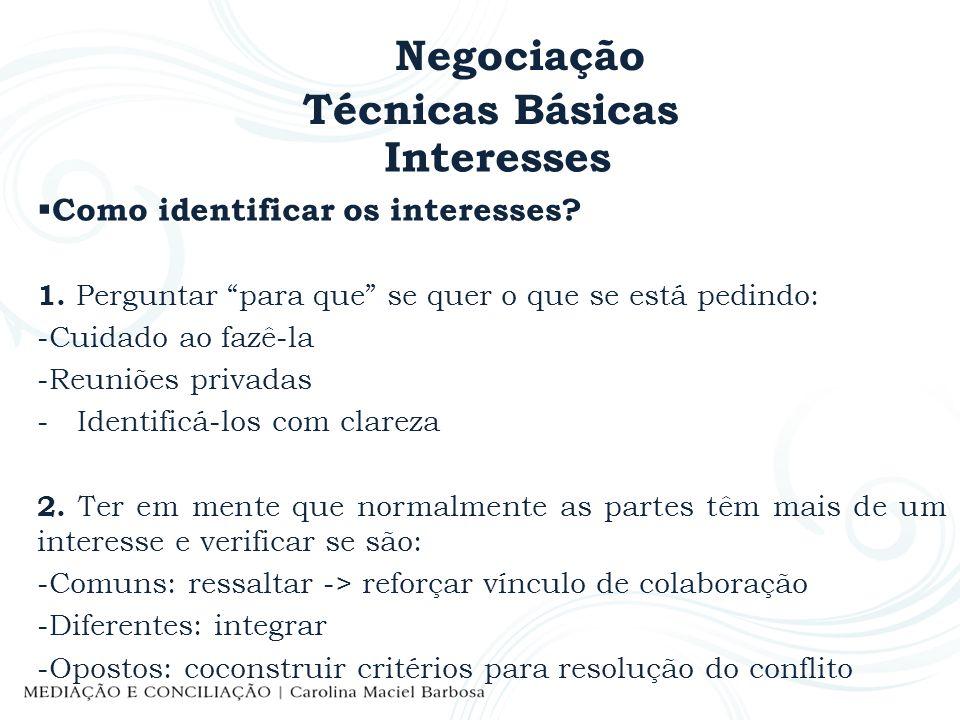 Negociação Técnicas Básicas Interesses Como identificar os interesses? 1. Perguntar para que se quer o que se está pedindo: -Cuidado ao fazê-la -Reuni