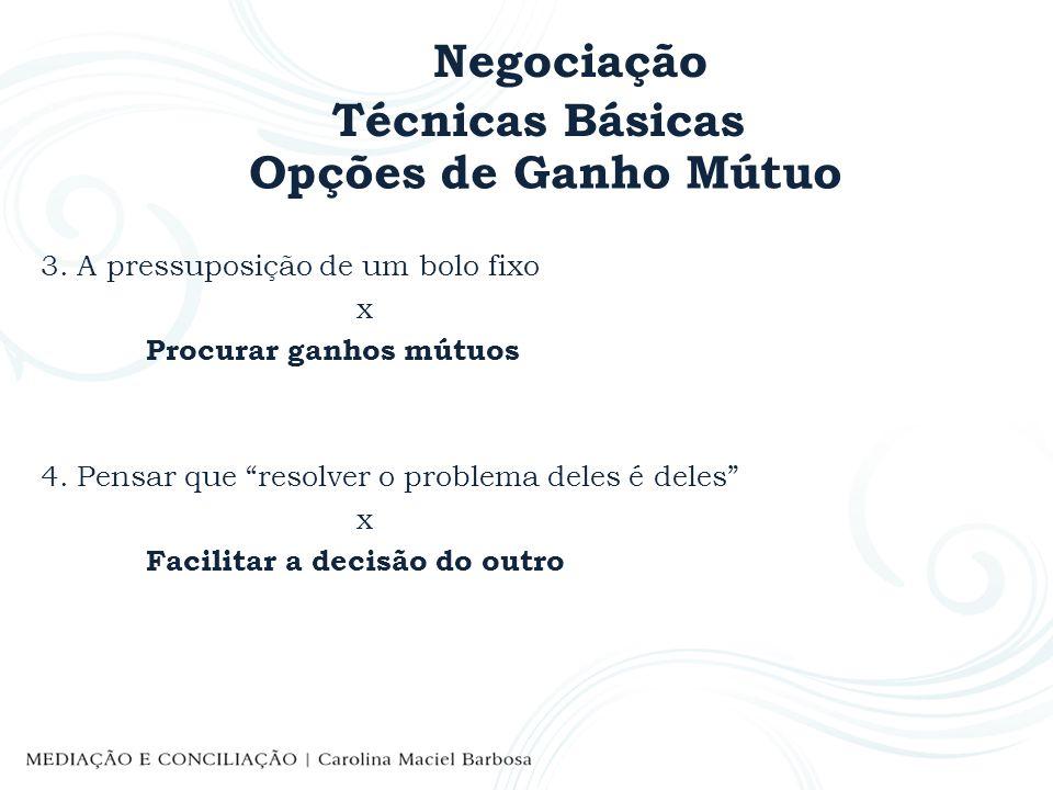 Negociação Técnicas Básicas Opções de Ganho Mútuo 3. A pressuposição de um bolo fixo x Procurar ganhos mútuos 4. Pensar que resolver o problema deles