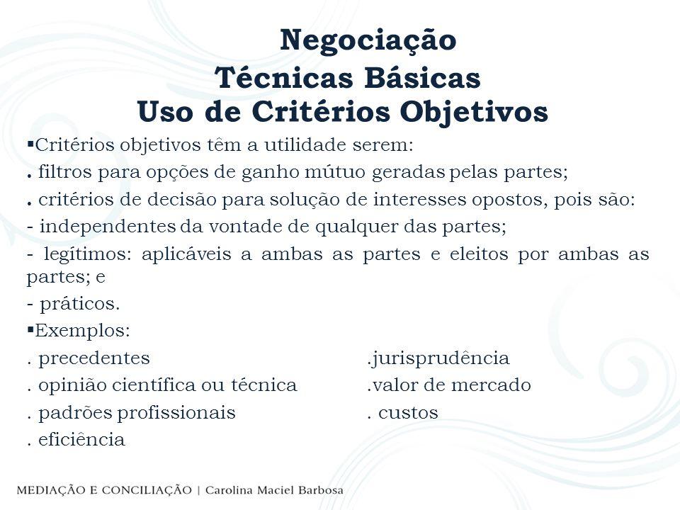 Negociação Técnicas Básicas Uso de Critérios Objetivos Critérios objetivos têm a utilidade serem:. filtros para opções de ganho mútuo geradas pelas pa
