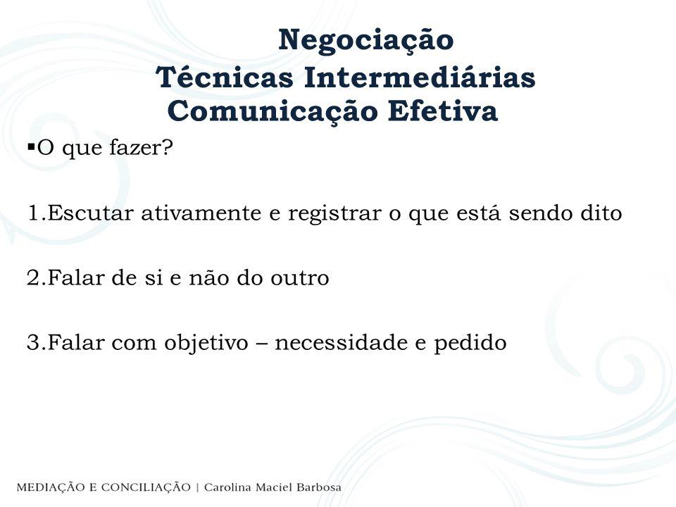 Negociação Técnicas Intermediárias Comunicação Efetiva O que fazer? 1.Escutar ativamente e registrar o que está sendo dito 2.Falar de si e não do outr