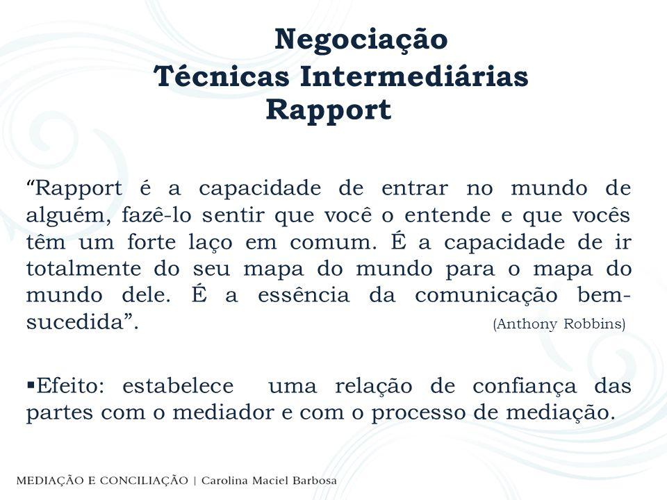 Negociação Técnicas Intermediárias Rapport Rapport é a capacidade de entrar no mundo de alguém, fazê-lo sentir que você o entende e que vocês têm um f
