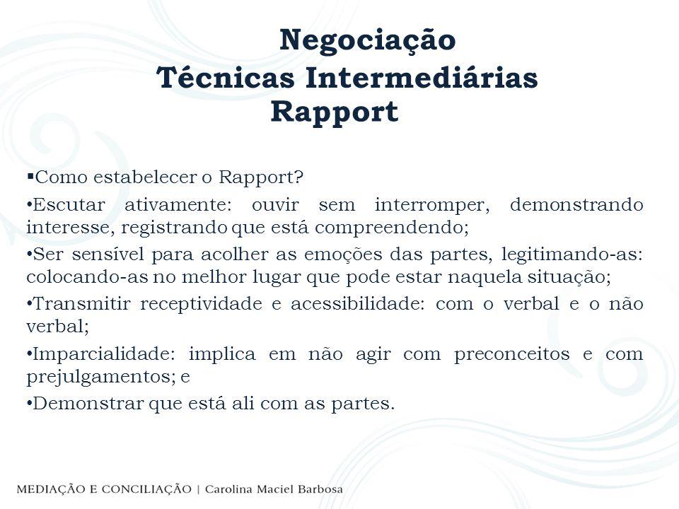 Negociação Técnicas Intermediárias Rapport Como estabelecer o Rapport? Escutar ativamente: ouvir sem interromper, demonstrando interesse, registrando