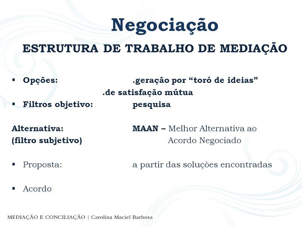 Negociação ATUAÇÃO DOS ADVOGADOS NA MEDIAÇÃO ao lado do mediando, seu cliente: PreparaçãoSEGURANÇA Pesquisa de seus interesses Pesquisa de seus recursos Critérios objetivos MAAN CRIATIVIDADE