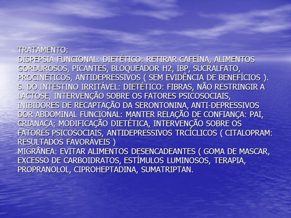 TRATAMENTO: DISPEPSIA FUNCIONAL: DIETÉTICO: RETIRAR CAFEÍNA, ALIMENTOS GORDUROSOS, PICANTES, BLOQUEADOR H2, IBP, SUCRALFATO, PROCINÉTICOS, ANTIDEPRESS