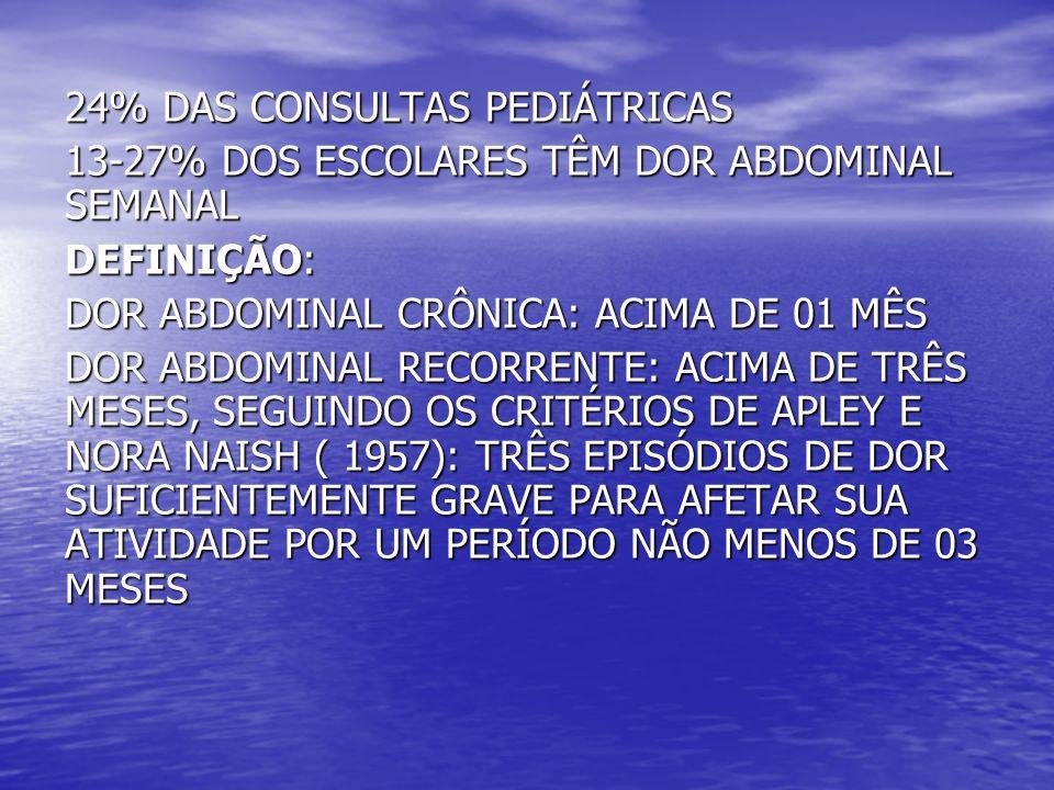 24% DAS CONSULTAS PEDIÁTRICAS 13-27% DOS ESCOLARES TÊM DOR ABDOMINAL SEMANAL DEFINIÇÃO: DOR ABDOMINAL CRÔNICA: ACIMA DE 01 MÊS DOR ABDOMINAL RECORRENT