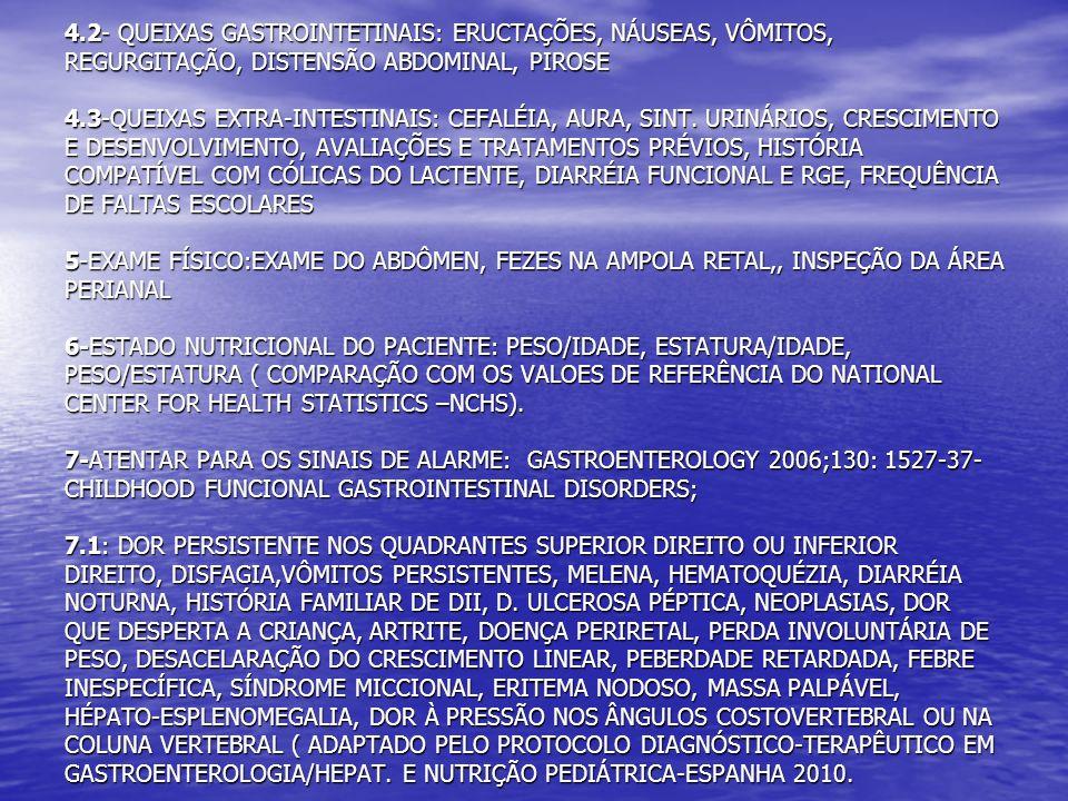 4.2- QUEIXAS GASTROINTETINAIS: ERUCTAÇÕES, NÁUSEAS, VÔMITOS, REGURGITAÇÃO, DISTENSÃO ABDOMINAL, PIROSE 4.3-QUEIXAS EXTRA-INTESTINAIS: CEFALÉIA, AURA,