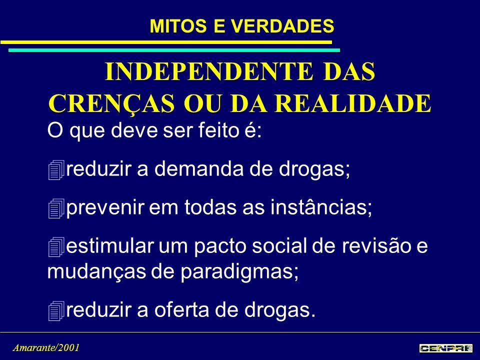 INDEPENDENTE DAS CRENÇAS OU DA REALIDADE O que deve ser feito é: 4reduzir a demanda de drogas; 4prevenir em todas as instâncias; 4estimular um pacto s