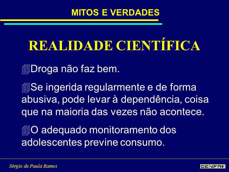Sérgio de Paula Ramos 4Droga não faz bem. 4Se ingerida regularmente e de forma abusiva, pode levar à dependência, coisa que na maioria das vezes não a