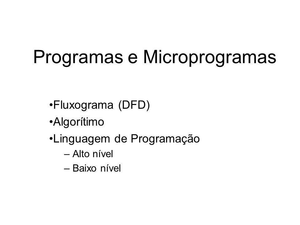 Programas e Microprogramas Fluxograma (DFD) Algorítimo Linguagem de Programação – Alto nível – Baixo nível