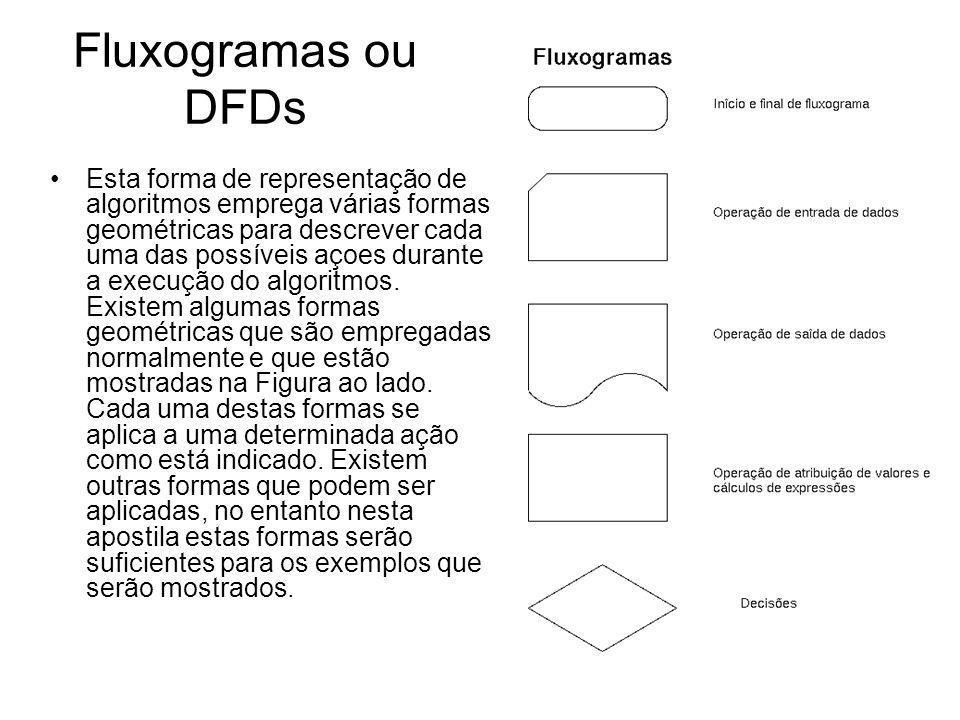 Fluxogramas ou DFDs Esta forma de representação de algoritmos emprega várias formas geométricas para descrever cada uma das possíveis açoes durante a
