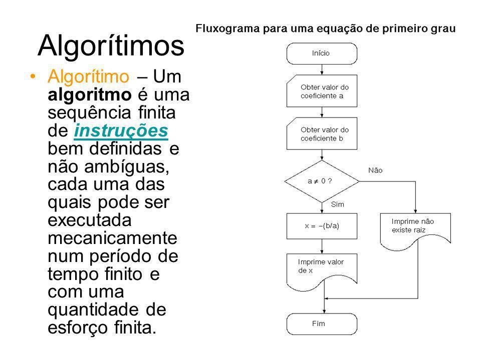 Algorítimos Exemplo para o Fluxograma ao lado: Algorítimo EQ 1ºGrau Declarações: a, b, x : REAL -Início -Digite o valor de a -Digite o valor de b -Se a = 0 faça -Imprima Não existe raiz -Caso contrário faça X = - (b/a) -Imprima o valor de x -Fim LINGUAGEM PASCAL PROGRAM Equacao1grau; Var a,b,X: real; Begin writeln( Digite o valor de a,b); read(a,b); if a=0 then writeln(`não existe raiz); else X:=-(b/a); writeln(o valor de X é=,X); End.