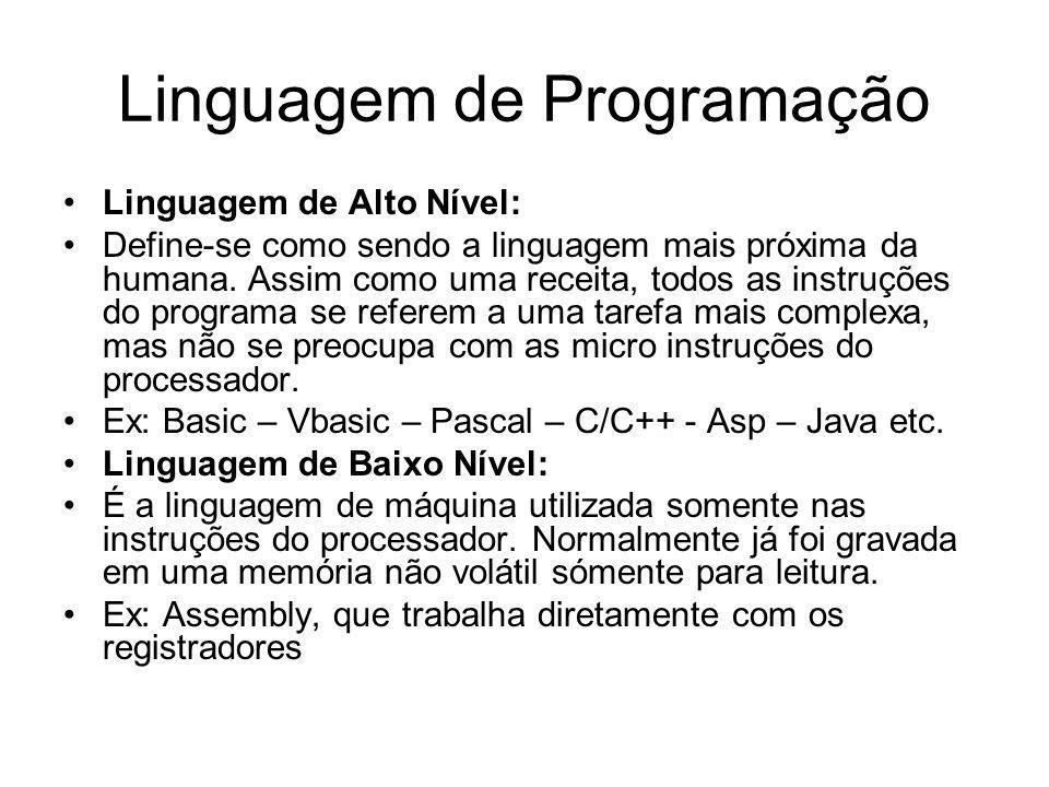 Linguagem de Programação Linguagem de Alto Nível: Define-se como sendo a linguagem mais próxima da humana. Assim como uma receita, todos as instruções