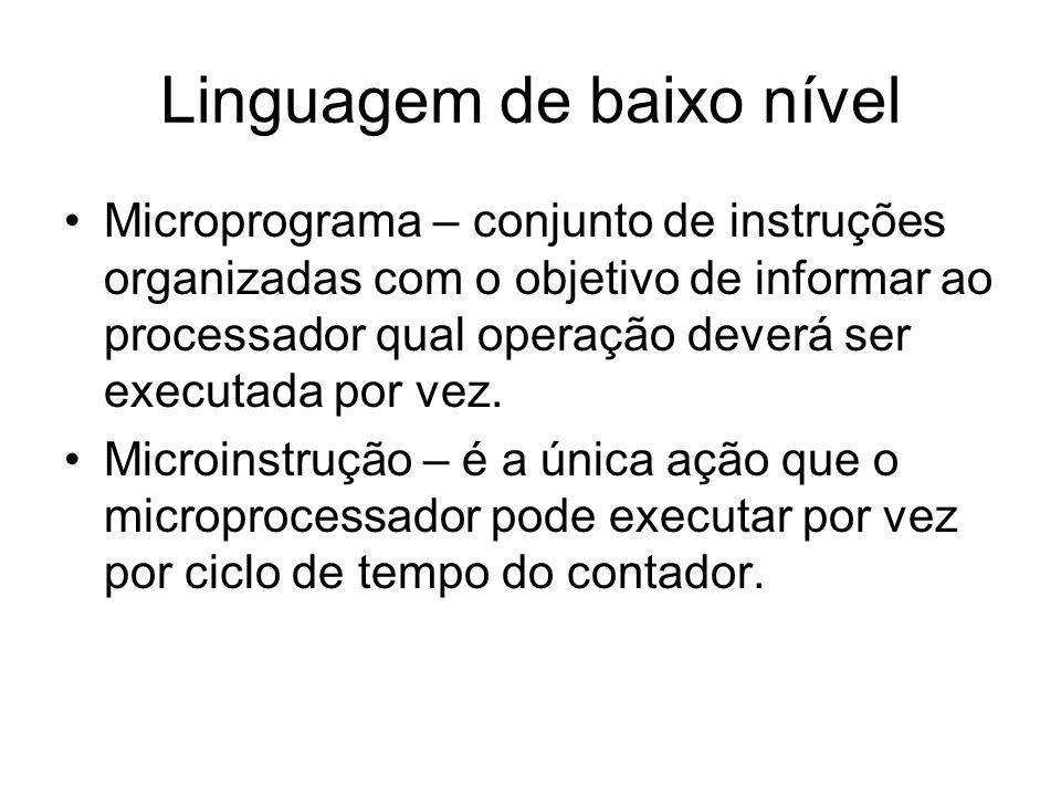 Linguagem de baixo nível Microprograma – conjunto de instruções organizadas com o objetivo de informar ao processador qual operação deverá ser executa