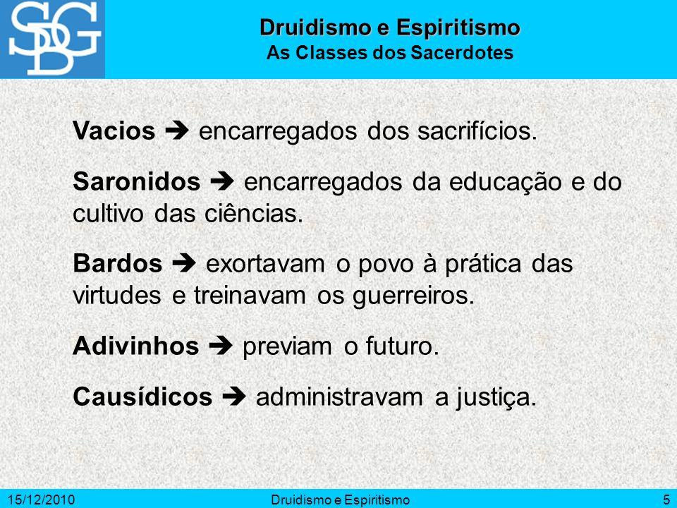 15/12/2010Druidismo e Espiritismo5 As Classes dos Sacerdotes Vacios encarregados dos sacrifícios.