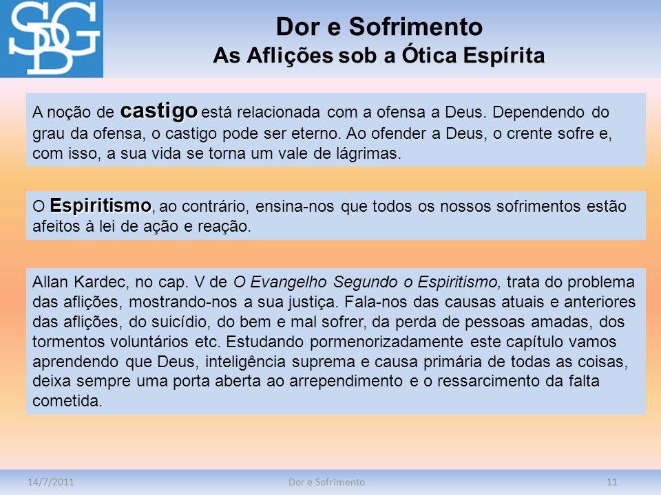 14/7/2011Dor e Sofrimento11 castigo A noção de castigo está relacionada com a ofensa a Deus. Dependendo do grau da ofensa, o castigo pode ser eterno.