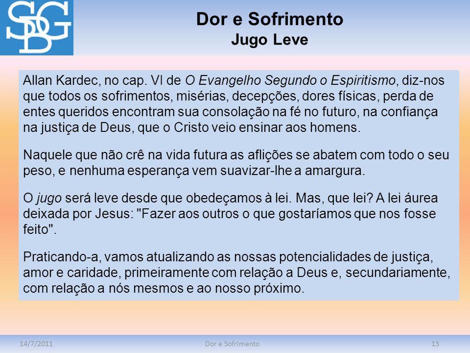 14/7/2011Dor e Sofrimento13 Allan Kardec, no cap. VI de O Evangelho Segundo o Espiritismo, diz-nos que todos os sofrimentos, misérias, decepções, dore