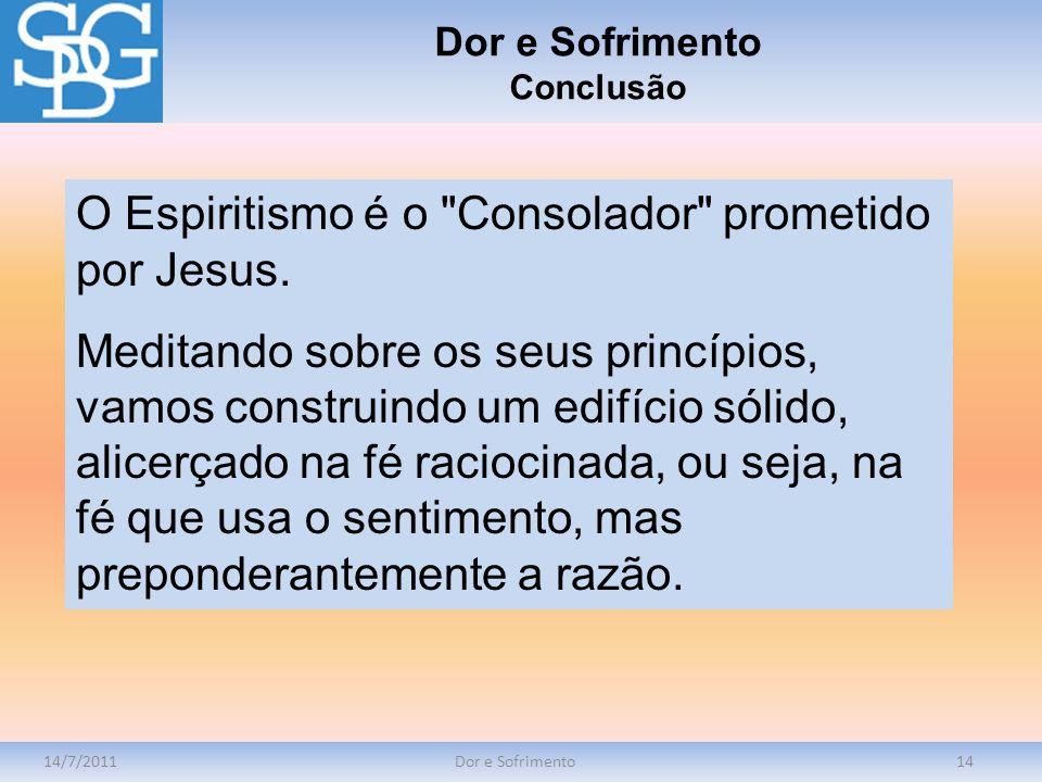 14/7/2011Dor e Sofrimento14 O Espiritismo é o