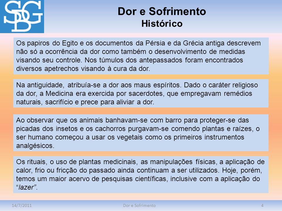 14/7/2011Dor e Sofrimento4 Os papiros do Egito e os documentos da Pérsia e da Grécia antiga descrevem não só a ocorrência da dor como também o desenvo