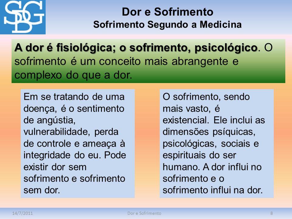 14/7/2011Dor e Sofrimento8 A dor é fisiológica; o sofrimento, psicológico A dor é fisiológica; o sofrimento, psicológico. O sofrimento é um conceito m