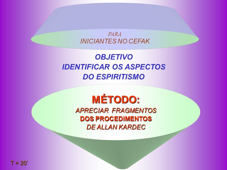 PARA INICIANTES NO CEFAK MÉTODO: APRECIAR F F F FRAGMENTOS DOS PROCEDIMENTOS DE ALLAN KARDEC OBJETIVO IDENTIFICAR OS ASPECTOS DO ESPIRITISMO T = 20