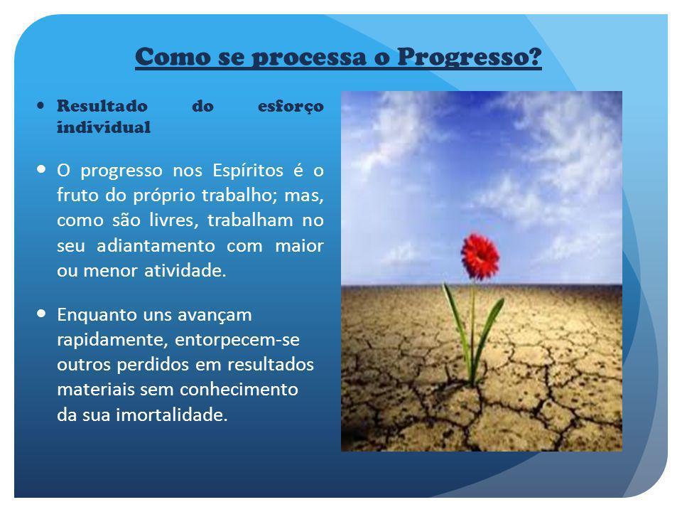 Como se processa o Progresso? Resultado do esforço individual O progresso nos Espíritos é o fruto do próprio trabalho; mas, como são livres, trabalham