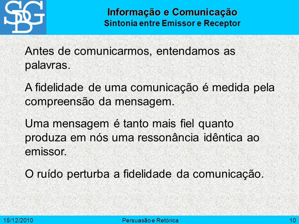 15/12/2010Persuasão e Retórica10 Antes de comunicarmos, entendamos as palavras. A fidelidade de uma comunicação é medida pela compreensão da mensagem.