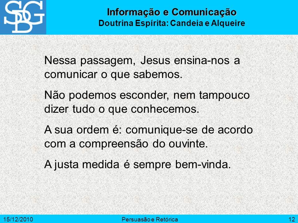 15/12/2010Persuasão e Retórica12 Nessa passagem, Jesus ensina-nos a comunicar o que sabemos. Não podemos esconder, nem tampouco dizer tudo o que conhe