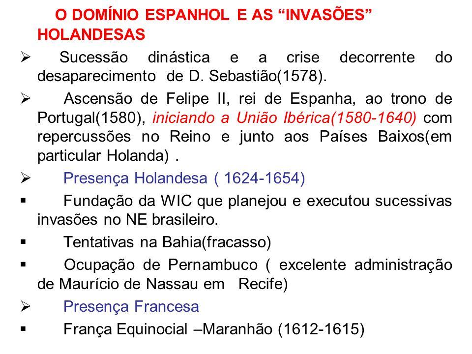 O DOMÍNIO ESPANHOL E AS INVASÕES HOLANDESAS Sucessão dinástica e a crise decorrente do desaparecimento de D. Sebastião(1578). Ascensão de Felipe II, r