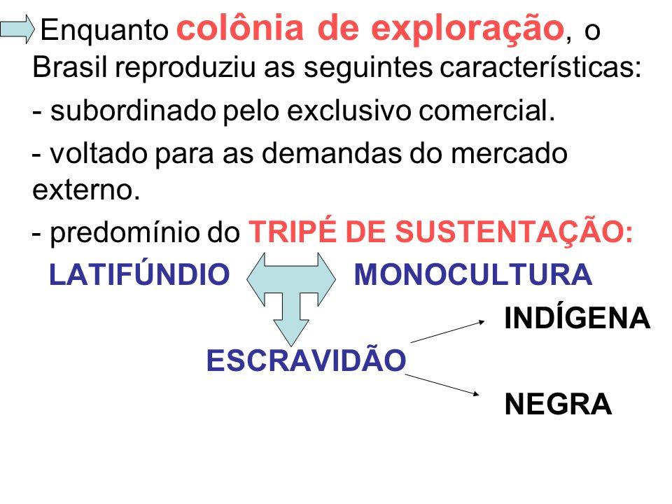 Enquanto colônia de exploração, o Brasil reproduziu as seguintes características: - subordinado pelo exclusivo comercial. - voltado para as demandas d