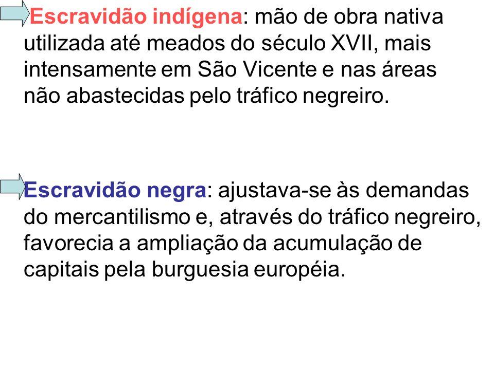Escravidão indígena: mão de obra nativa utilizada até meados do século XVII, mais intensamente em São Vicente e nas áreas não abastecidas pelo tráfico