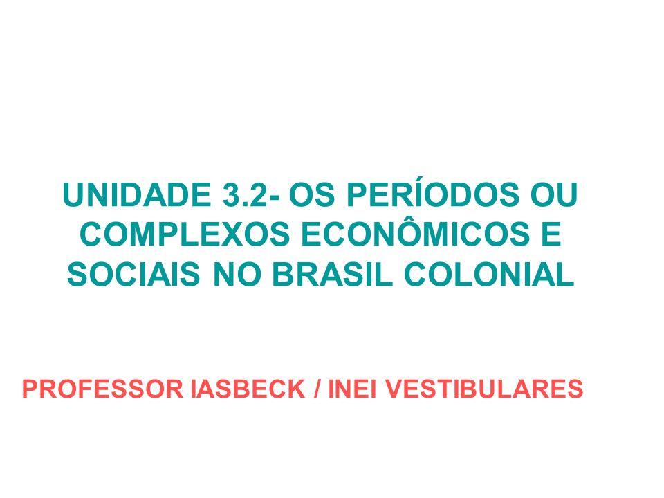 UNIDADE 3.2- OS PERÍODOS OU COMPLEXOS ECONÔMICOS E SOCIAIS NO BRASIL COLONIAL PROFESSOR IASBECK / INEI VESTIBULARES