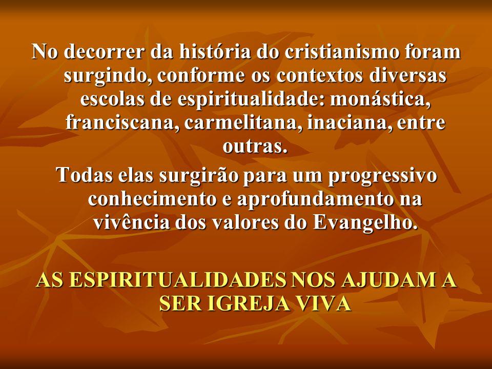 No decorrer da história do cristianismo foram surgindo, conforme os contextos diversas escolas de espiritualidade: monástica, franciscana, carmelitana, inaciana, entre outras.