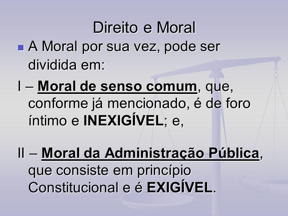 Direito e Moral A Moral por sua vez, pode ser dividida em: A Moral por sua vez, pode ser dividida em: I – Moral de senso comum, que, conforme já menci