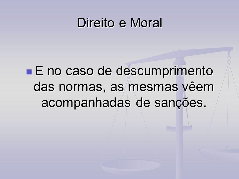 Direito e Moral E no caso de descumprimento das normas, as mesmas vêem acompanhadas de sanções. E no caso de descumprimento das normas, as mesmas vêem
