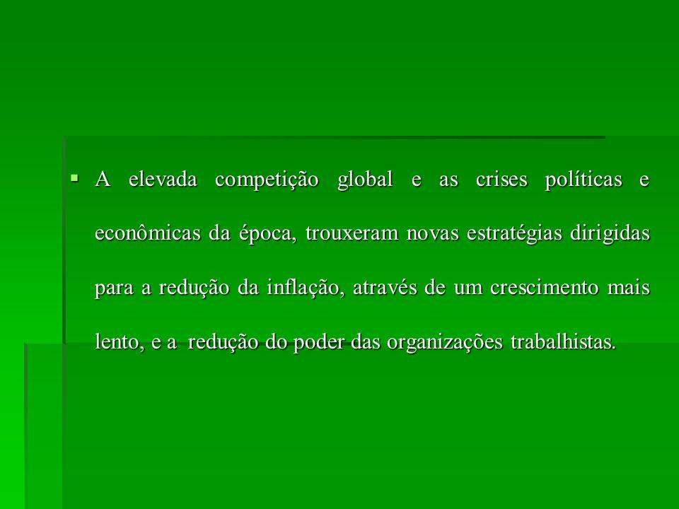 A elevada competição global e as crises políticas e econômicas da época, trouxeram novas estratégias dirigidas para a redução da inflação, através de