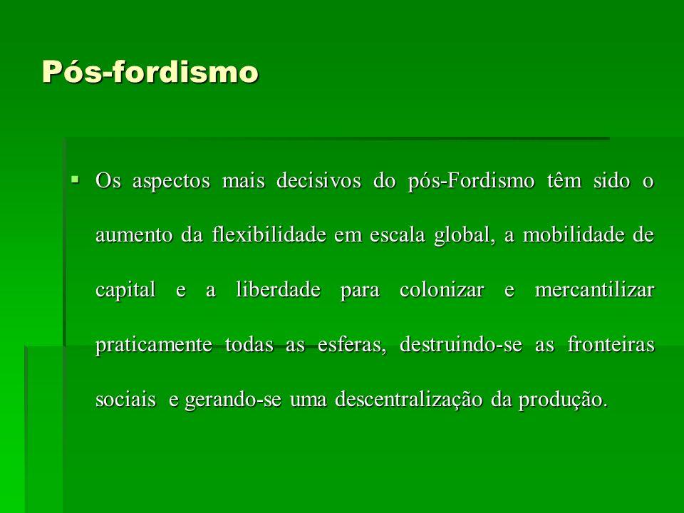 Pós-fordismo Os aspectos mais decisivos do pós-Fordismo têm sido o aumento da flexibilidade em escala global, a mobilidade de capital e a liberdade pa