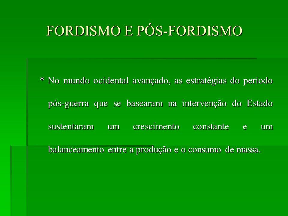 FORDISMO E PÓS-FORDISMO FORDISMO E PÓS-FORDISMO * No mundo ocidental avançado, as estratégias do período pós-guerra que se basearam na intervenção do