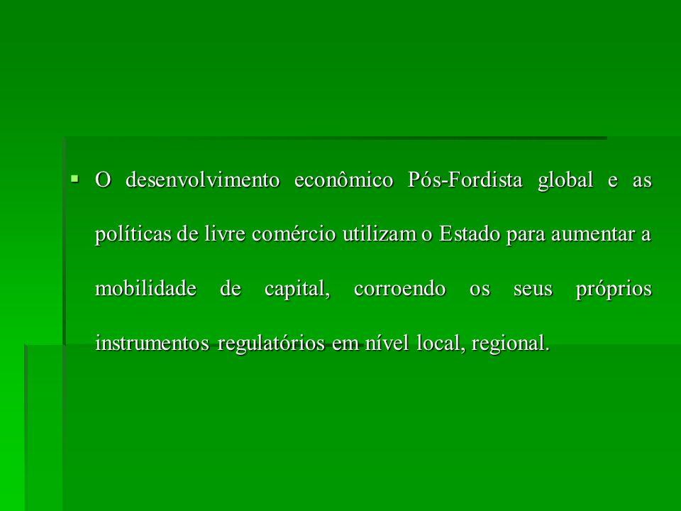 O desenvolvimento econômico Pós-Fordista global e as políticas de livre comércio utilizam o Estado para aumentar a mobilidade de capital, corroendo os