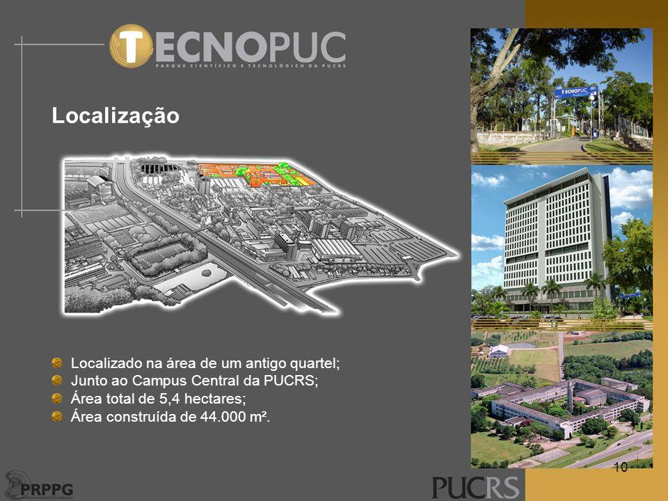 Localização Localizado na área de um antigo quartel; Junto ao Campus Central da PUCRS; Área total de 5,4 hectares; Área construída de 44.000 m². 10