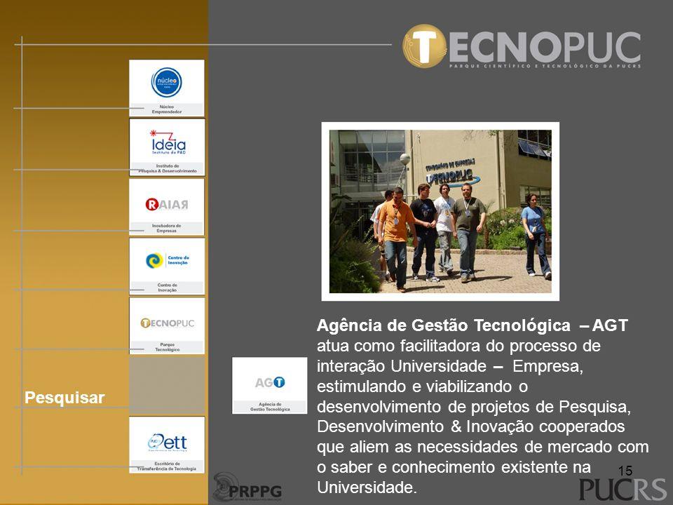 Pesquisar Agência de Gestão Tecnológica – AGT atua como facilitadora do processo de interação Universidade – Empresa, estimulando e viabilizando o des