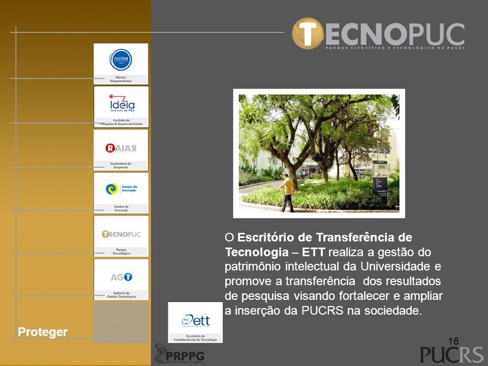 Proteger O Escritório de Transferência de Tecnologia – ETT realiza a gestão do patrimônio intelectual da Universidade e promove a transferência dos re