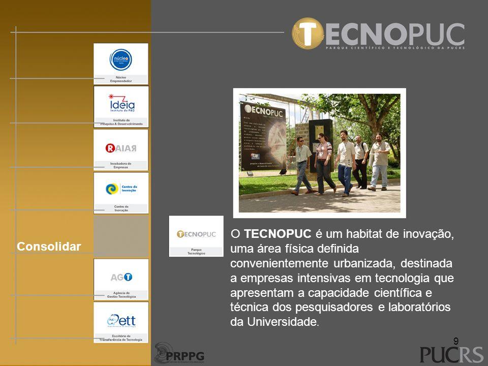 Consolidar O TECNOPUC é um habitat de inovação, uma área física definida convenientemente urbanizada, destinada a empresas intensivas em tecnologia qu