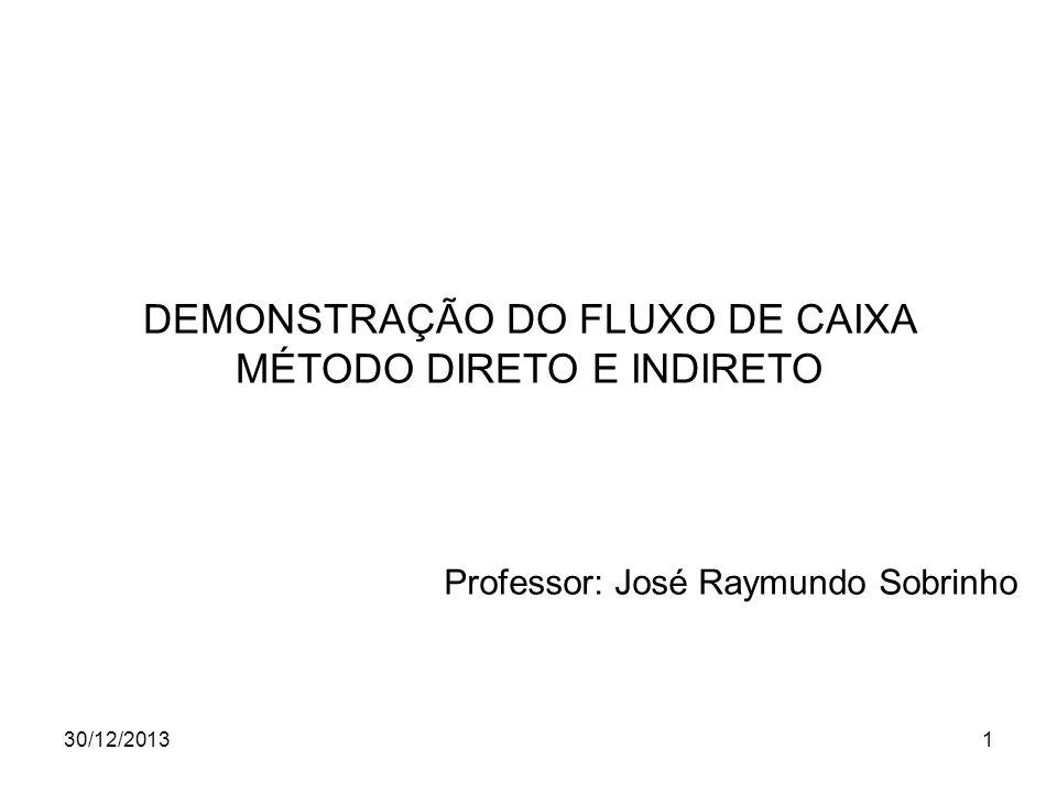 30/12/20131 DEMONSTRAÇÃO DO FLUXO DE CAIXA MÉTODO DIRETO E INDIRETO Professor: José Raymundo Sobrinho