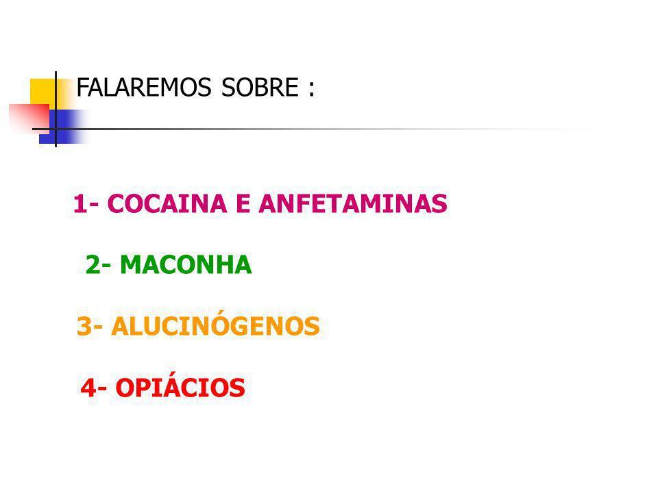 FALAREMOS SOBRE : 1- COCAINA E ANFETAMINAS 2- MACONHA 3- ALUCINÓGENOS 4- OPIÁCIOS