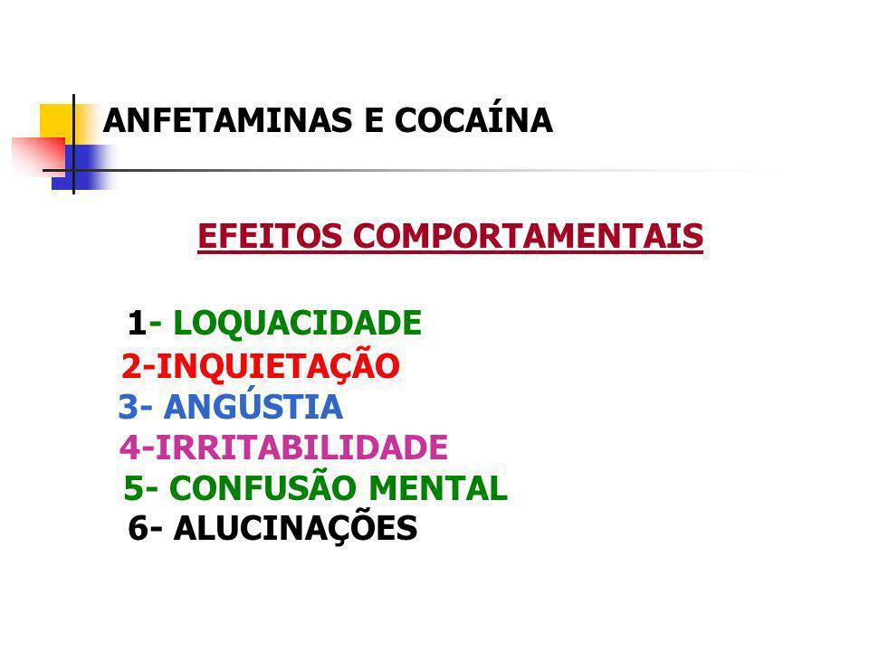 ANFETAMINAS E COCAÍNA EFEITOS COMPORTAMENTAIS 1- LOQUACIDADE 2-INQUIETAÇÃO 3- ANGÚSTIA 4-IRRITABILIDADE 5- CONFUSÃO MENTAL 6- ALUCINAÇÕES