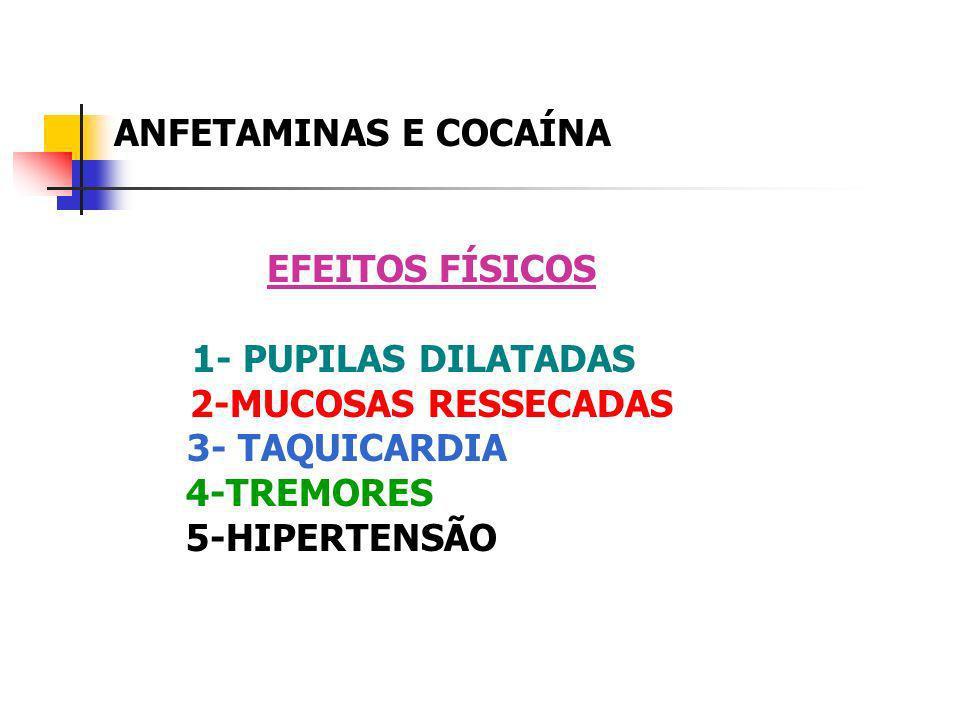 ANFETAMINAS E COCAÍNA EFEITOS FÍSICOS 1- PUPILAS DILATADAS 2-MUCOSAS RESSECADAS 3- TAQUICARDIA 4-TREMORES 5-HIPERTENSÃO