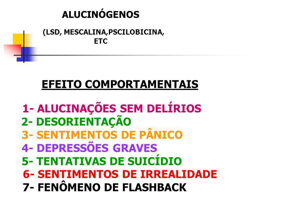 ALUCINÓGENOS (LSD, MESCALINA,PSCILOBICINA, ETC EFEITO COMPORTAMENTAIS 1- ALUCINAÇÕES SEM DELÍRIOS 2- DESORIENTAÇÃO 3- SENTIMENTOS DE PÂNICO 4- DEPRESS