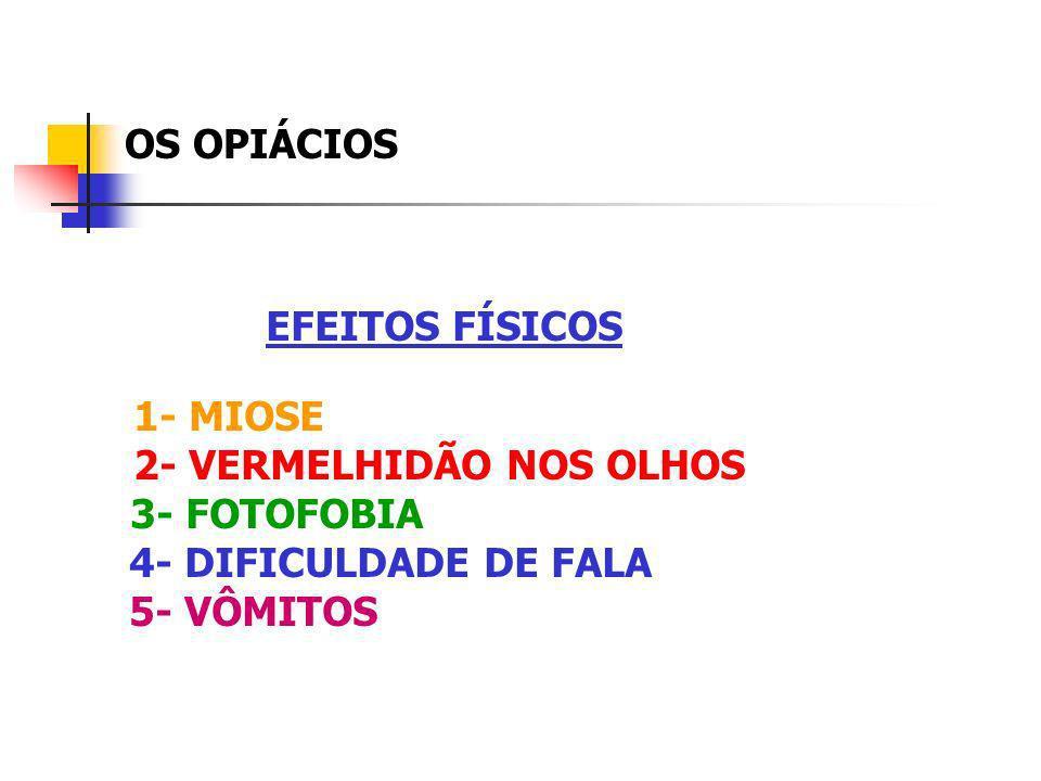 OS OPIÁCIOS EFEITOS FÍSICOS 1- MIOSE 2- VERMELHIDÃO NOS OLHOS 3- FOTOFOBIA 4- DIFICULDADE DE FALA 5- VÔMITOS
