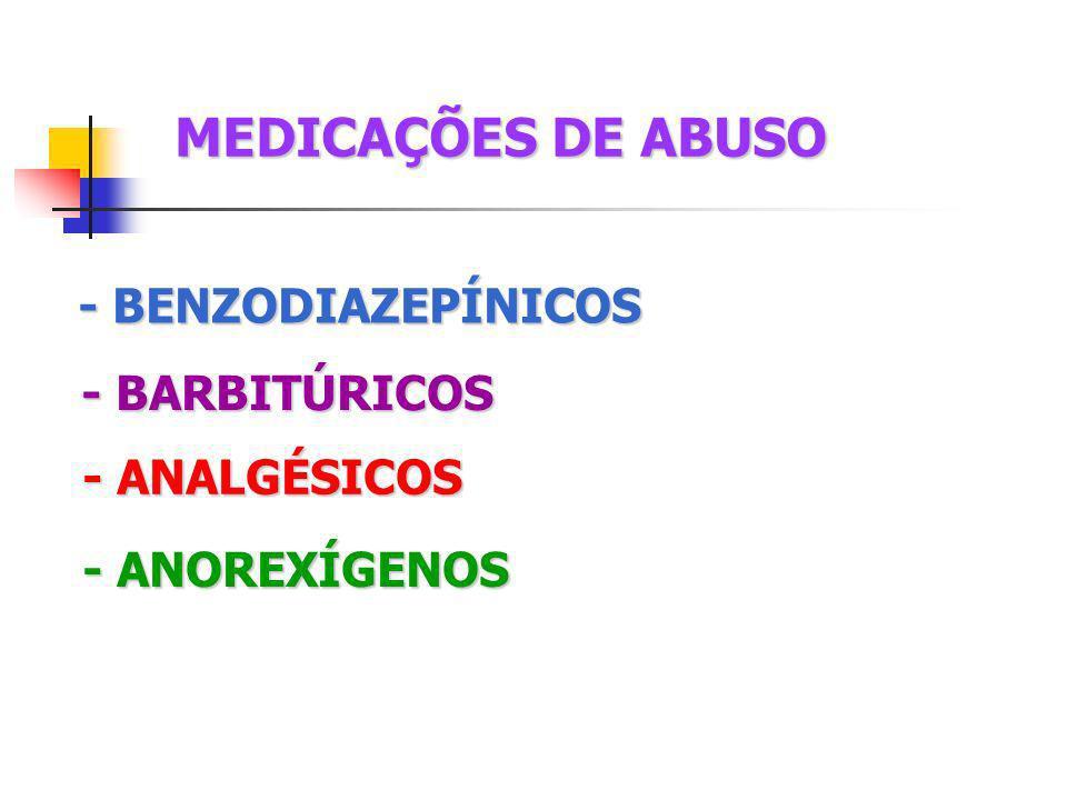 MEDICAÇÕES DE ABUSO - BENZODIAZEPÍNICOS - BARBITÚRICOS - ANALGÉSICOS - ANOREXÍGENOS