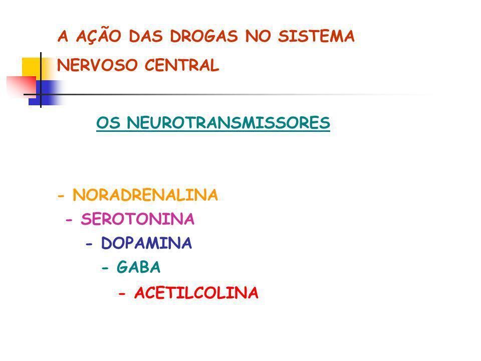 A AÇÃO DAS DROGAS NO SISTEMA NERVOSO CENTRAL OS NEUROTRANSMISSORES - NORADRENALINA - SEROTONINA - DOPAMINA - GABA - ACETILCOLINA